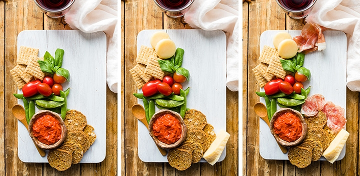 Second series of step by step photos showing how to add more items to make a cheese board.
