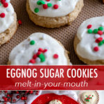 Soft eggnog sugar cookies that melt in your mouth and are so festive for holiday baking! Easy to make - no dough chilling! - and topped with a light sweep of frosting and sprinkles. These are an easy addition and will be a huge hit on any cookie tray! #eggnog #christmascookies #cookietray