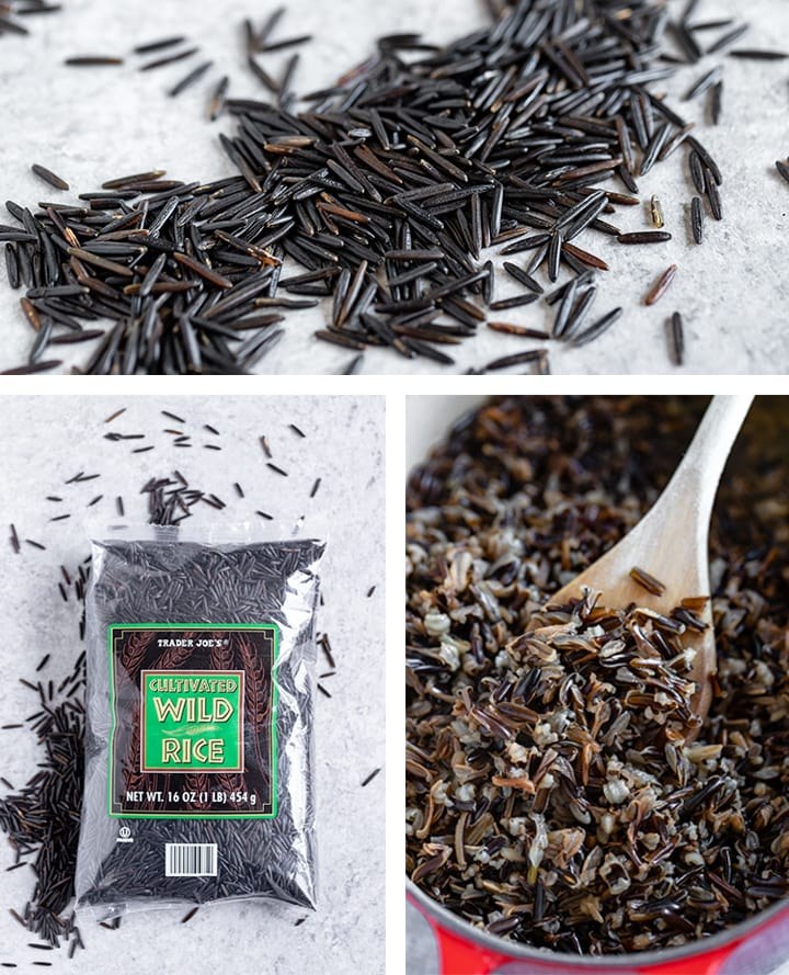 Composite image showing raw grains of wild rice, wild rice in a bag, and wild rice that has been cooked.