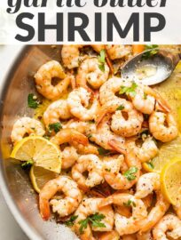 Everyone loves these Garlic Butter Shrimp with fresh lemon juice and a hint of red pepper. And they're ready in just 15 minutes!