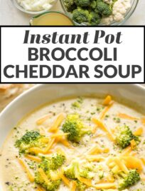 An Instant Pot broccoli cheddar soup that's easy-to-make, soul-warming, delicious, AND healthy! So many veggies, love at first bite.