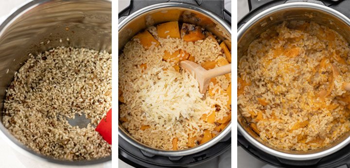 Three photos showing how to cook risotto with butternut squash in the Instant Pot, so that the butternut breaks down and becomes creamy.