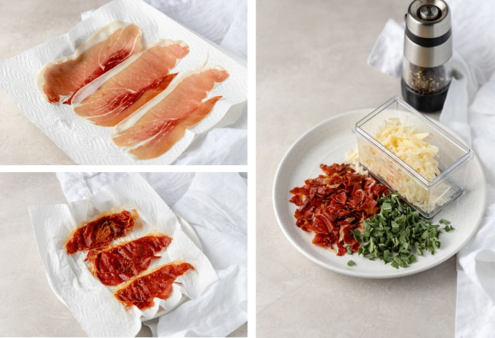 Three photos showing how to crisp Prosciutto in the microwave then crumble it into a topping.
