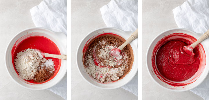 Three pictures showing the step-by-step process of mixing red velvet cake batter in one bowl.