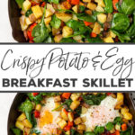 Life-changing breakfast skillet with CRISPY potatoes, veggies, and eggs all cooked in one pan. This will make you believe in savory breakfasts! #breakfastrecipes #breakfasthash