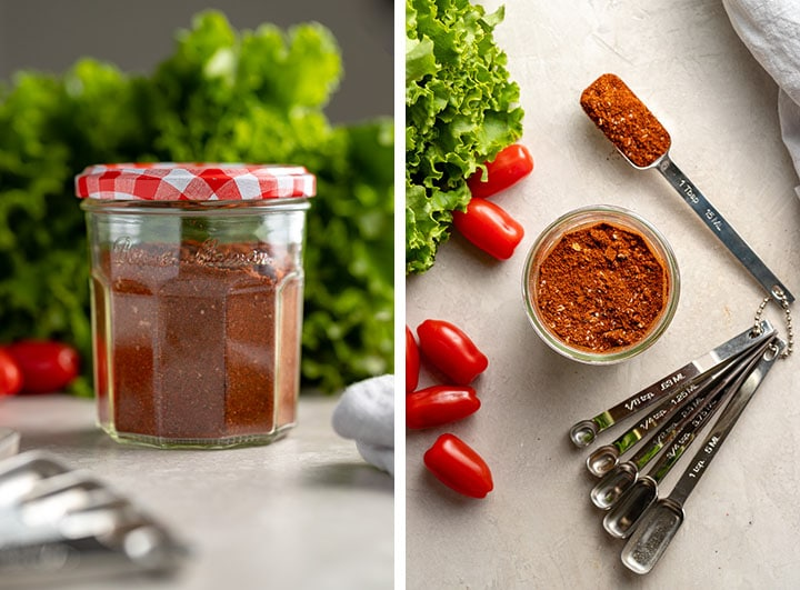 Photos of homemade taco seasoning stored in a small jar.