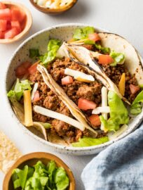 Instant Pot tacos made with ground beef.