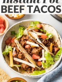Instant Pot tacos with ground beef and salsa are a go-to weeknight dinner. Simple, kid-friendly, and so delicious. Best of all, they take less than 30 minutes, and you can prep taco toppings while the pressure cooker does all the work.