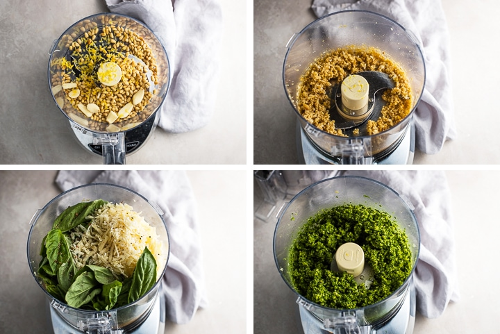Step by step photos of making fresh basil pesto in a food processor.