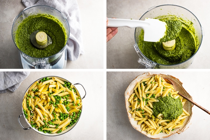 Step by step photos of fresh pesto, just-cooked pasta, and mixing the two together.