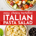 A crowd-pleasing Italian pasta salad recipe gets even more delicious with the addition of pillowy cheese tortellini. Easy to throw together, even better the next day! #pastasalad