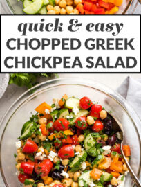 Quick & easy chopped Greek chickpea salad.