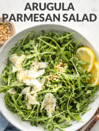 """Collage image with text reading, """"5 minute side - arugula Parmesan salad"""""""