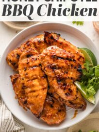 Tender Honey Chipotle Chicken breasts are easy to make on the grill or on the stove-top. Sweet, spicy, and absolutely irresistible!