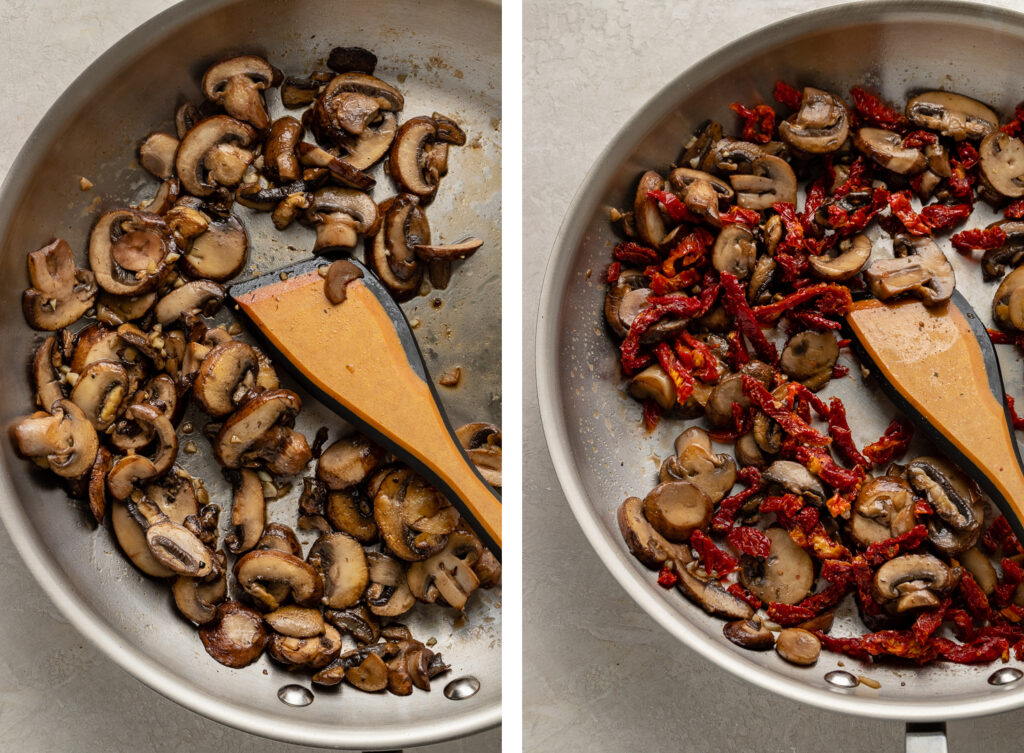Side by side photos of sauteed mushrooms, with and without added sun-dried tomatoes.