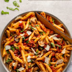 An easy, flavorful, vegetarian Penne Alla Vodka recipe you'll make again and again! Comes together quickly using either your own sauce or store-bought. A perfect easy vegetarian dinner idea. #vodkasauce #vegetarian #pasta
