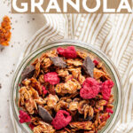 An easy, healthy recipe for dark chocolate granola with raspberries. Make a big batch and enjoy a delicious breakfast all week! #granola #homemade #breakfastideas #makeaheadbreakfast