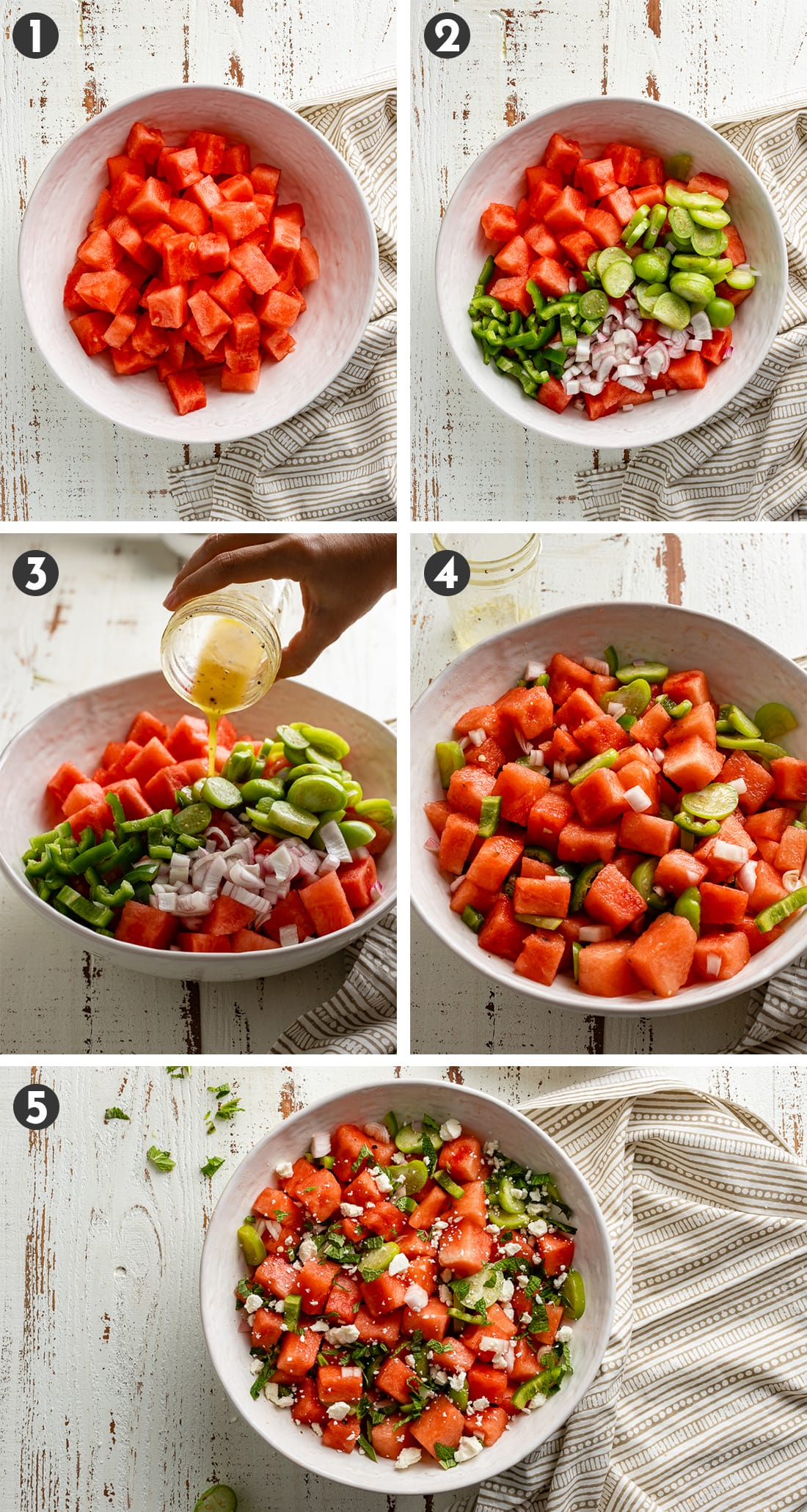Step-by-step photos showing how to assemble a chilled watermelon salad.