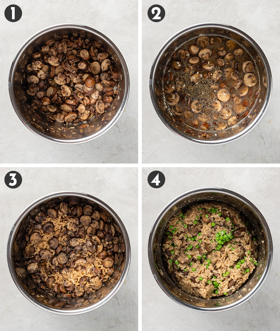 Step by step photos showing (1) mushrooms sauteed in Instant Pot, (2) those mushrooms with broth and seasoning, (3) that mixture cooked with arborio rice, (4) a finished risotto with peas stirred in.