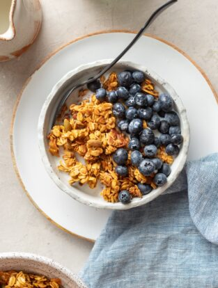 A bowl of pumpkin spice granola with blueberries in milk.