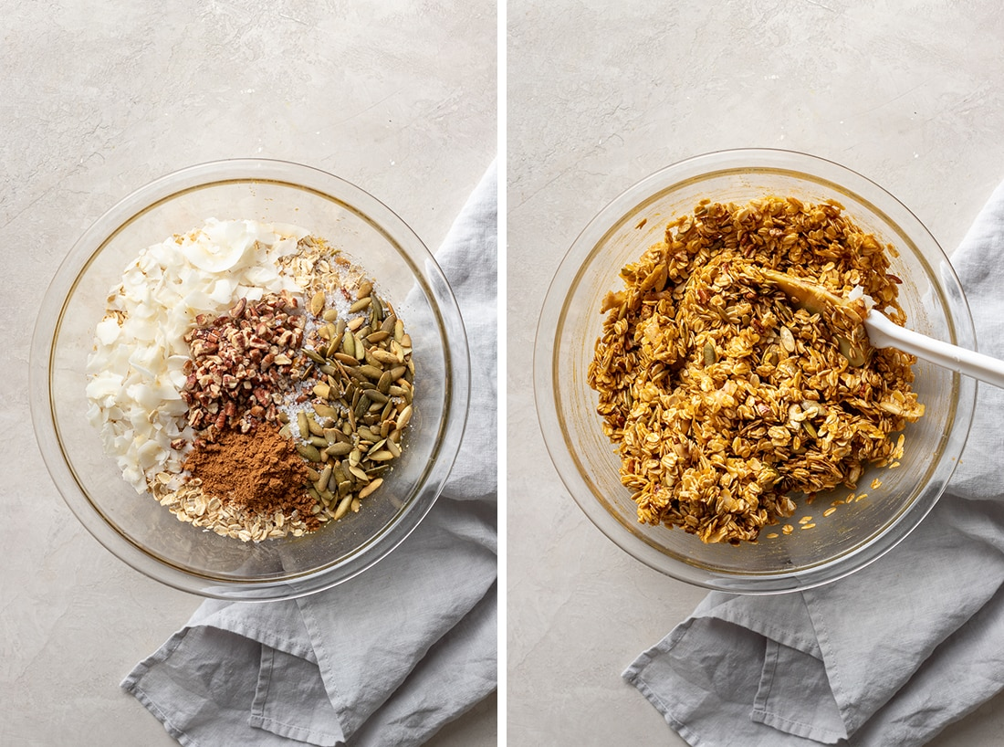 Ingredients in pumpkin spice granola, before and after mixing.