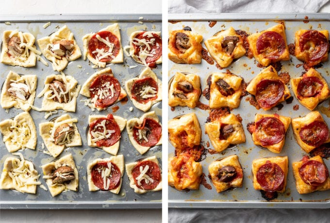 Puff pastry pizza bites, shown before and after baking in a mini muffin tin.