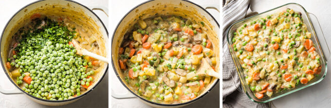 Collage image showing steps of adding peas and seasoning and scooping veggie pot pie mixture into a baking dish.