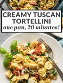 This creamy Tuscan tortellini is flavorful, quick, and super simple! One pan and 20 minutes transform store-bought tortellini into a gourmet meal with sun-dried tomatoes, spinach, garlic, and cream.