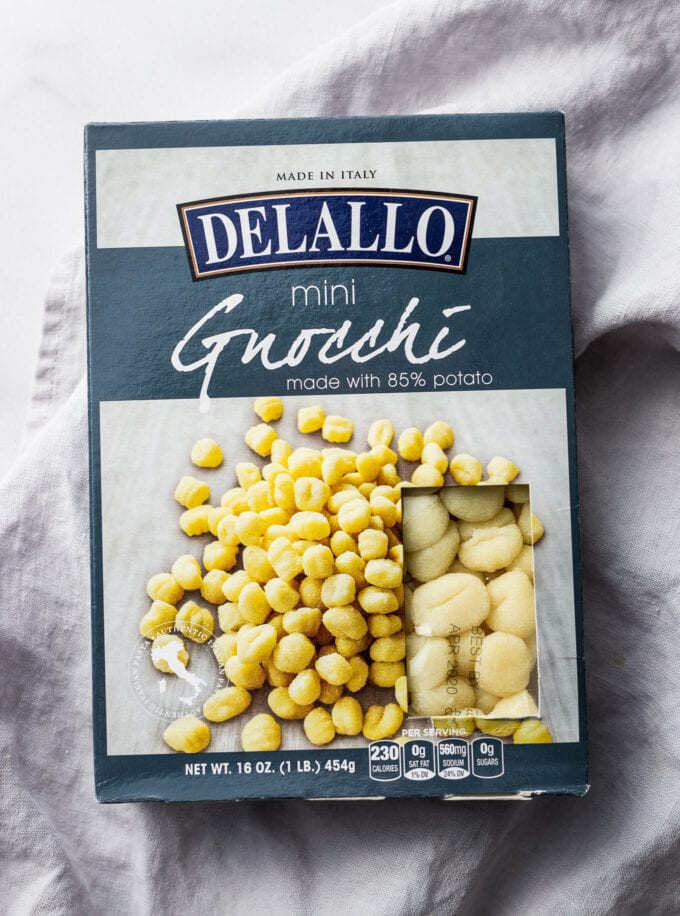 Package of DeLallo brand mini potato gnocchi.