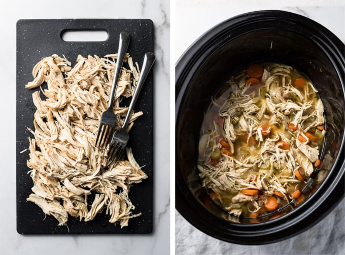 Shredded chicken on cutting board and returned to crockpot.