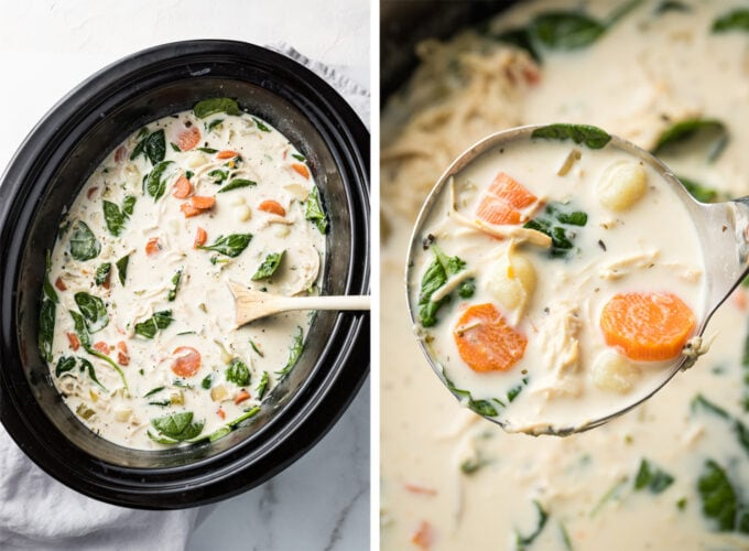 Copycat Olive Garden chicken gnocchi soup, ready to serve out of a crockpot.