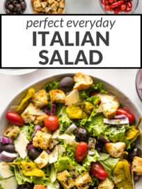 Complete your favorite meal with this easy Italian salad! Crisp greens, juicy tomatoes, tangy olives, and crunchy croutons make this a winner every time. A perfect Olive Garden dupe that is crowd-pleasing and crazy easy to customize and make at home!
