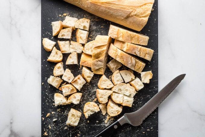 Bread cubes.