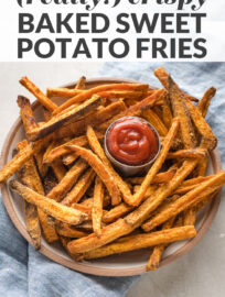 "Photo with text: ""really crispy baked sweet potato fries"""