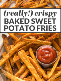 "Collage photo with text: ""really crispy baked sweet potato fries"""