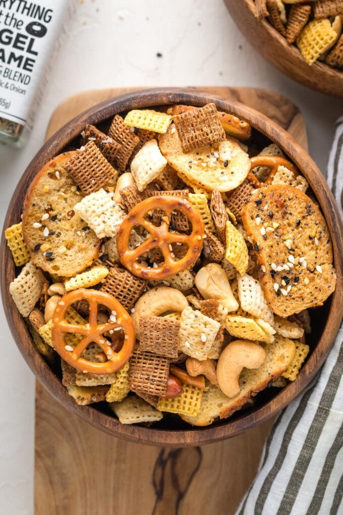 Close-up of homemade Chex mix and Trader Joe's everything but the bagel seasoning.