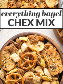 "Collage image with text, ""everything bagel Chex mix"""