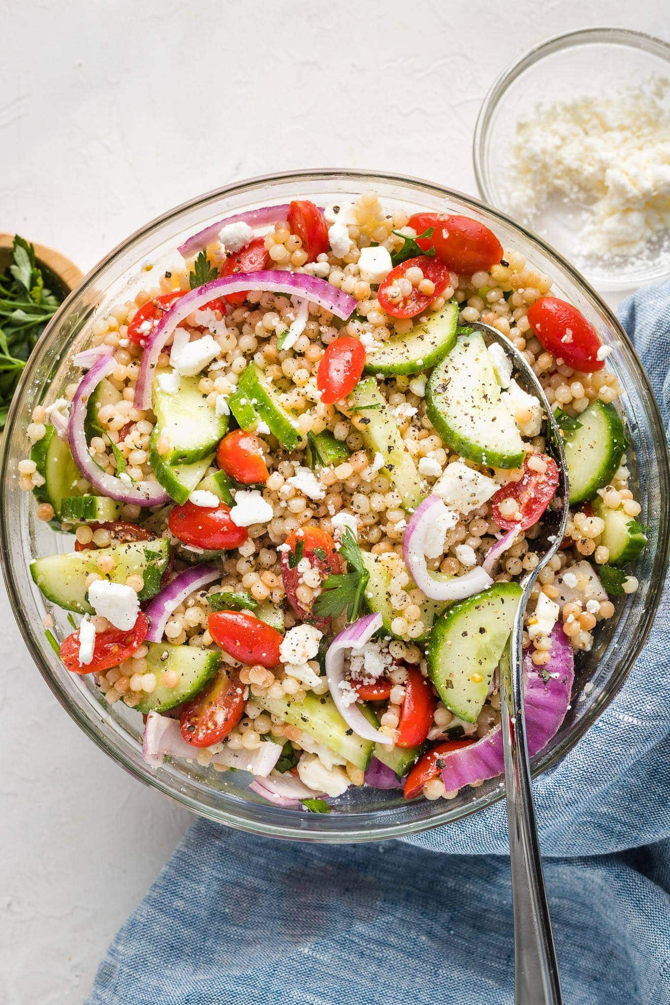 Pearl Couscous Salad With Tomato And Cucumber Nourish And Fete