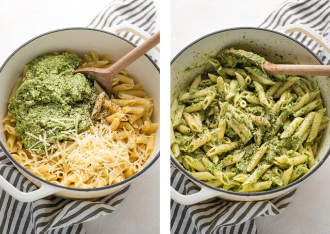 Collage showing pasta, pesto, and Parmesan being mixed in a pot.