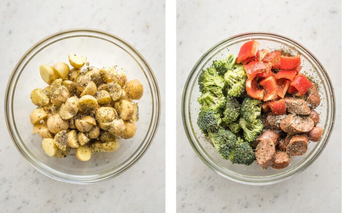 Collage image of clear prep bowls containing seasoned potatoes, sausage, broccoli, and peppers.