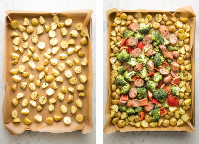 Collage with one image showing potatoes spread out on baking sheet and another showing potatoes pushed to edges and sausage and veggies piled in the middle.