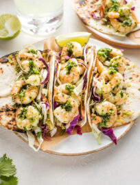 Shrimp tacos with green chile adobo.