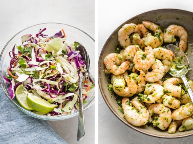 Collage showing mixed cabbage slaw and shrimp mixed with green adobo sauce.