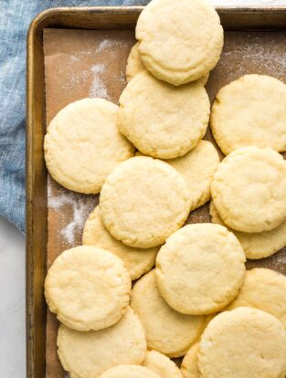 Old-fashioned Amish sugar cookies on a baking sheet.