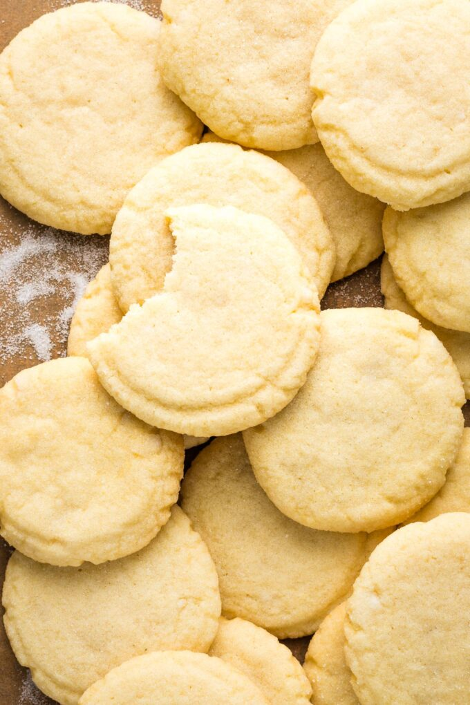 Close-up of a cookie with a bite out of it.