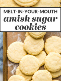 Collage image of cookies on a baking sheet with overlaid text reading: