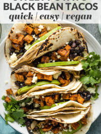 "Collage image with the text, ""sweet potato black bean tacos: quick, easy, vegan."""