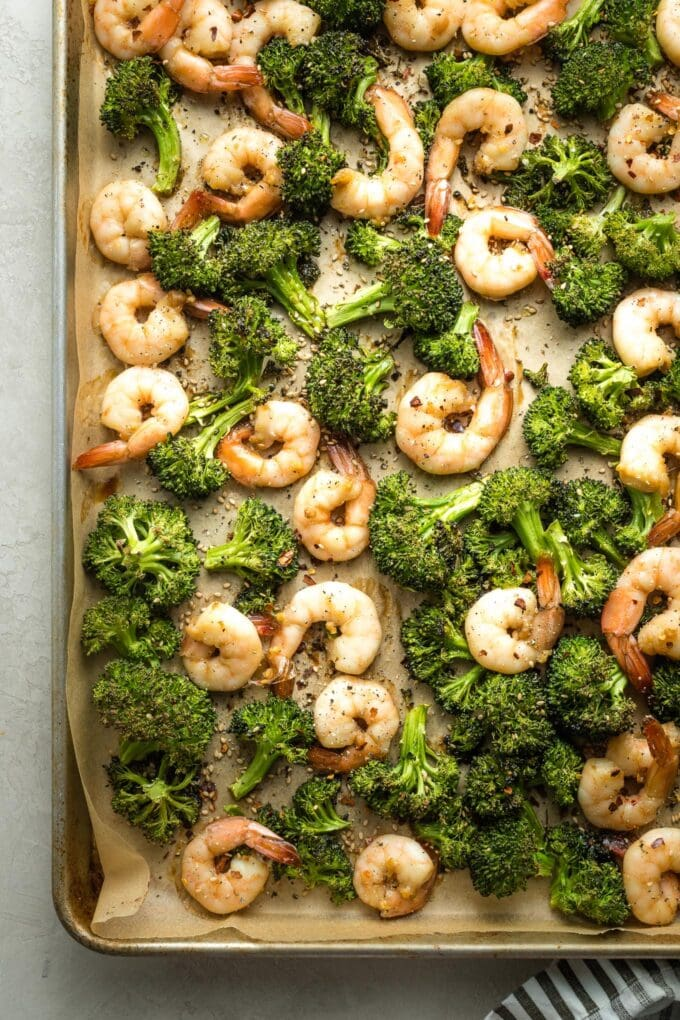 Fully cooked shrimp and broccoli.