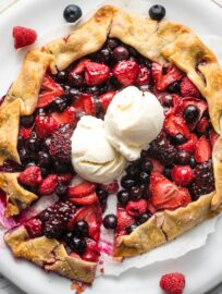 Galette with mixed berries served with vanilla ice cream.