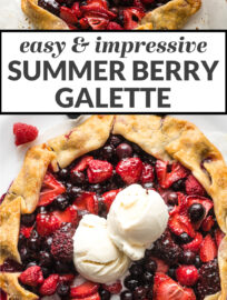 Galette is the easier, just as impressive version of pie! This easy summer treat is filled with any combination of strawberries, blueberries, raspberries, and blackberries, and makes a beautiful dessert for July 4th or any celebration.